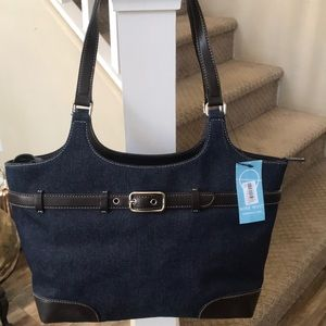 Nine West denim with faux leather accents